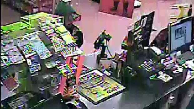 Surveillance footage shows the man suspected of robbing a Loveland gas station.