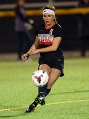 Loveland's Brooke Harden centers a pass in the semi