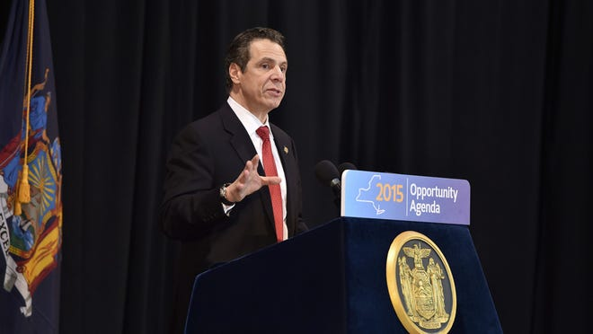"""Gov. Andrew Cuomo delivers his regional """"2015 Opportunity Agenda"""" address on Feb. 13 at Pascack Community Center in Nanuet. The governor has included legislation aimed on curbing sex assault at colleges, part of his """"Enough is Enough"""" campaign."""