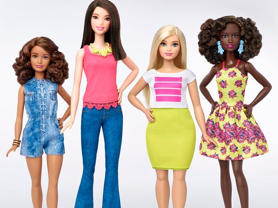 The new shapes and sizes of Barbie's fashionista dolls.