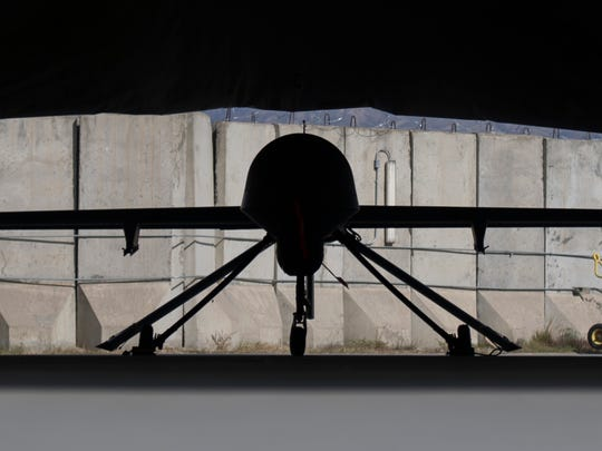 An MQ-1B Predator from the 62nd Expeditionary Reconnaissance Squadron Detachment 1 sits in a hanger at Jalalabad Airfield, Afghanistan, Feb. 3, 2016. The MQ-1B is an armed, multi-mission, medium-altitude, long-endurance remotely piloted aircraft is employed primarily as an intelligence-collection asset and secondarily against dynamic execution targets.