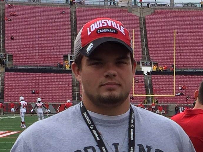 Collins 2016 long snapper Kyle Goss during a visit to the University of Louisville