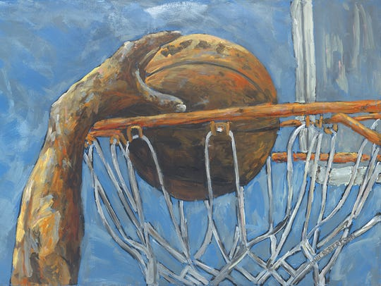 This dunk painting is among the pieces that will grace the team's new stadium. This painting is by John Robertson of Malibu, Calif.
