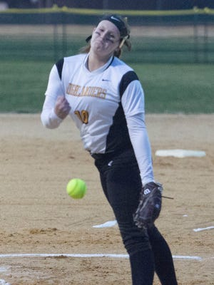 West Milford pitcher Jessica Perucki during the 23rd annual Darlene Dondero Softball Tournament where West Milford beat Lakeland on Saturday, April 14, 2018.