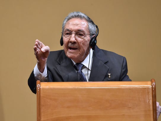 Cuban President Raul Castro speaks at a press conference
