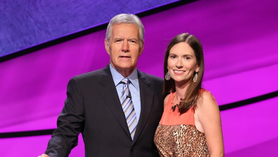 "Rani Peffer with ""Jeopardy!"" host Alex Trebek."