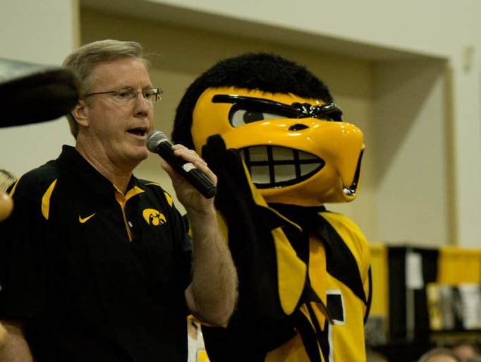 Fran McCaffery speaks to an excited crowd at the FRY Fest Pep Rally. Friday, August 30, 2013