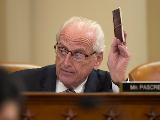 House Ways and Means Committee member Rep. Bill Pascrell Jr., D-N.J. holds up a copy of the Constitution as he speaks at the committee's meeting on Capitol Hill in Washington, Tuesday, March 28, 2017. Pascrell introduced House Resolution 186, an inquiry directing the Treasury Secretary to provide to the House of Representatives the tax returns and other specified financial information of President Donald Trump.