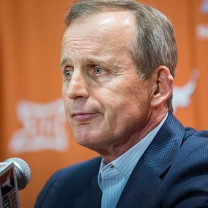Fired Texas basketball coach Rick Barnes speaks during