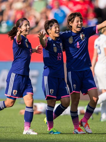 Japan celebrates its semifinal victory over England.