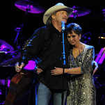 """Alan Jackson, left, and Nancy Jones, George Jones' widow, following Jackson's performance of """"He Stopped Loving Her Today"""" at """"Playin' Possum: The Final No Show,"""" a tribute concert to the late singer, held Nov. 22 in Nashville."""