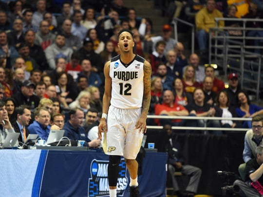 Boilermakers forward Vincent Edwards (12) reacts during the second half of the game against the Vermont Catamounts in the first round of the NCAA Tournament at BMO Harris Bradley Center.\