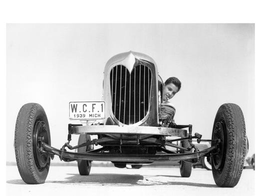 William Clay Ford on Dearborn Test Track at age of 14 in 1939.