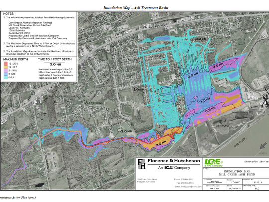Worst-case scenario flooding in the event of levee failure at Mill Creek power plant coal ash pond. The pond is scheduled to be closed by 2021.