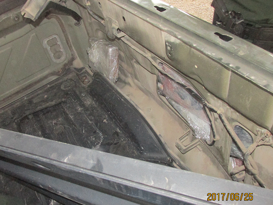 Border Patrol agents found cocaine hidden in the vehicle's quarter panels in Falfurrias, Sunday, June 25, 2017.