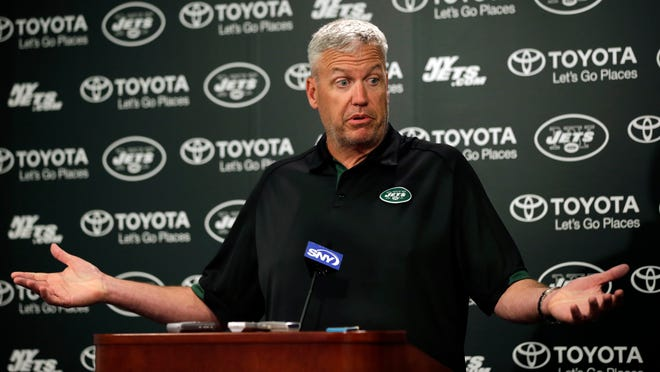 Jets head coach Rex Ryan reacts as he speaks with the media after minicamp on Thursday. Ryan was asked if the New England Patriots may have obtained a copy of the Jets playbook.
