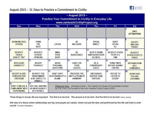 CIVILITY August 2015 Calendar