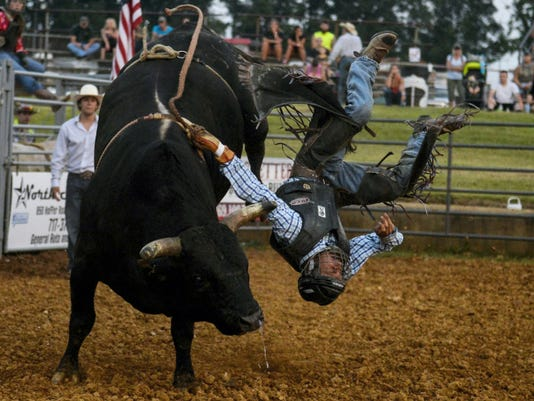 The Redeye Rodeo made a scheduled stop at the Lebanon Area Fair on Monday. This bull-rider made an unscheduled, sudden stop very shortly after this photo was taken.