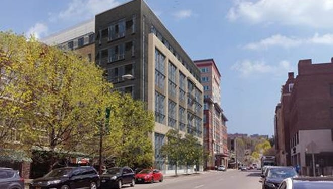 An architect's rendering for the planned $31.3 million, seven-story, 110,000-square-foot building, 118 E. Seneca St.