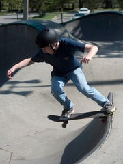 Max Gilbride skates at the Steven Morgan Skate Park