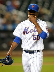 Mets pitcher Rafael Montero (50) reacts as he leaves the game in the fourth inning against the Miami Marlins at Citi Field on Friday.