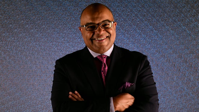 Sportscaster Mike Tirico poses for a portrait during the Team USA PyeongChang 2018 Winter Olympics portraits on April 25, 2017 in West Hollywood, California.