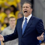 Dec 3, 2015; Los Angeles, CA, USA; Kentucky Wildcats head coach John Calipari reacts to a play during the first half against the UCLA Bruins at Pauley Pavilion. Mandatory Credit: Richard Mackson-USA TODAY Sports