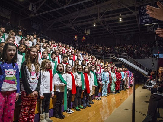 Students sing during the 2015 Community Christmas Sing
