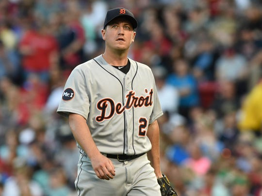 Tigers pitcher Jordan Zimmermann (27) walks off the mound after pitching during the third inning Friday in Boston.