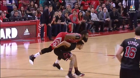 James Harden wasn't whistled for a foul on this play