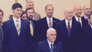 Gov. Mike Pence signs the Indiana Religious Freedom Restoration Act on March 26, 2015.