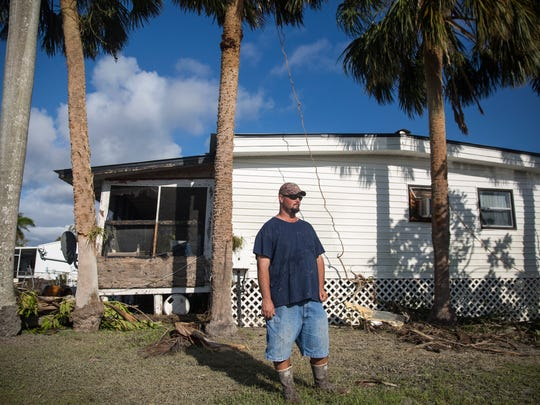 Jeremy Kee's home endured sever water and wind damage by Hurricane Irma in Plantation Island, an unincorporated area nearby Everglades City on Tuesday, September 12, 2017.