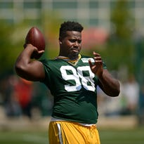 Green Bay Packers defensive tackle Letroy Guion during training camp practice at Ray Nitschke Field on Saturday, Aug. 15, 2015.