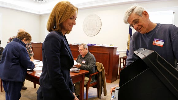 Republican Nan Hayworth votes Nov. 4, 2014 at Bedford Town Hall in Bedford Hills. Hayworth is running for Congress against Democratic Rep. Sean Maloney in a rematch of 2010 in the 18th District.