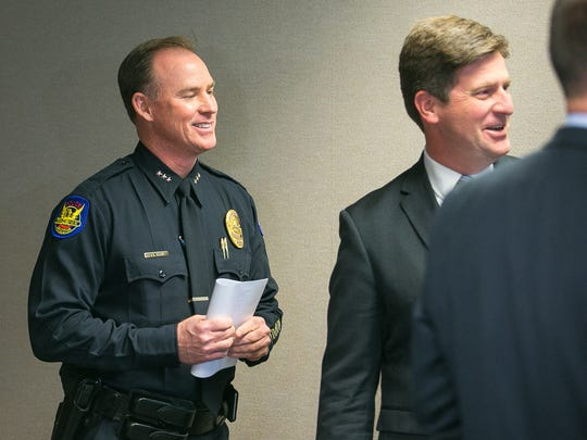 Phoenix Police Chief Joe Yahner with Phoenix Mayor