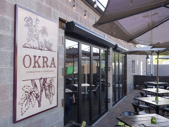 The entrance to Okra Cookhouse & Cocktails in Phoenix.