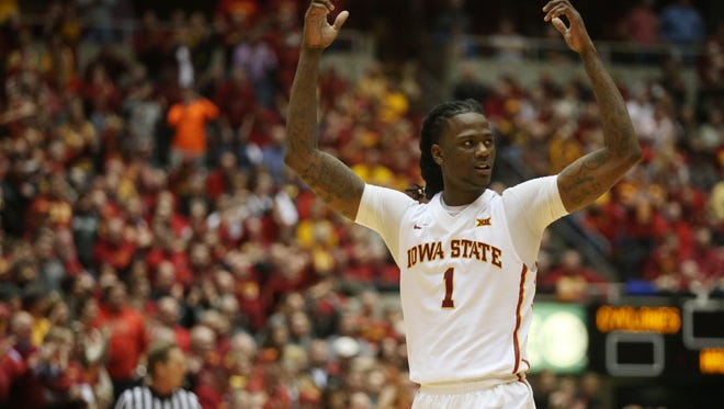 Iowa State's Jameel McKay waves his arms to pump up the crowd  during the Cyclones men's basketball game against No. 1 Oklahoma on Monday, Jan. 18, 2016, in Hilton Coliseum. The Cyclones beat the Sooners 82-77.