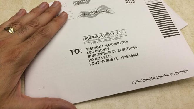 Completed mail-in ballots being sent to the elections office.