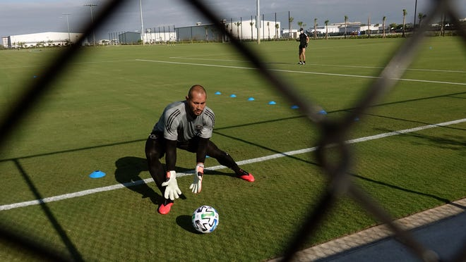 Inter Miami MLS soccer team goalkeeper Luis Robles practices at the team's training facility in Fort Lauderdale, Fla., Wednesday, May 6, 2020.