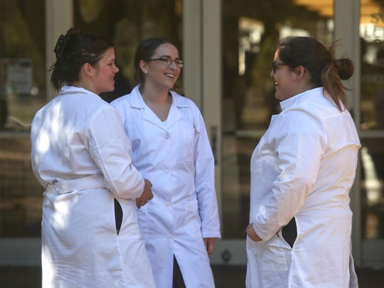 Shasta College students Cortney Norton, from left,