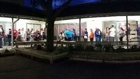 Early voting after polls closed at 7 p.m. Friday at Greenwood Senior Citizen Center in Corpus Christi. About 75 people were in line to cast ballots when the early voting deadline expired.