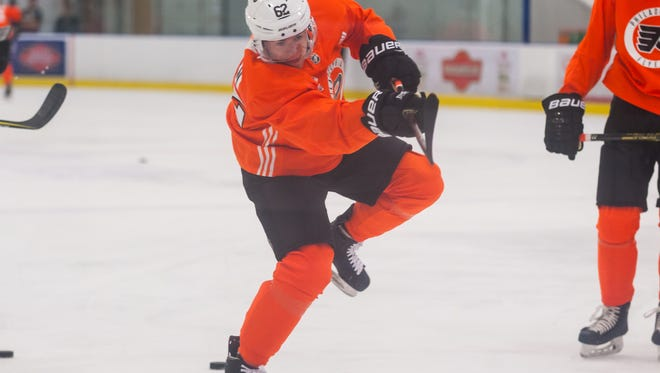 Flyers center Jay O'Brien (62) shoots during drills at the 2018 Philadelphia Flyers Developmental Camp at Flyers Skate Zone in Vorhees on Thursday, June 28.