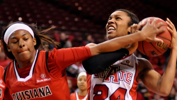 Arkansas State's Aundrea Gamble and UL's Adrienne Prejean