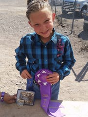 Shealynn Tavizon was the grand champion winner in the heifer competition at the Grant County Fair on Saturday in Cliff.