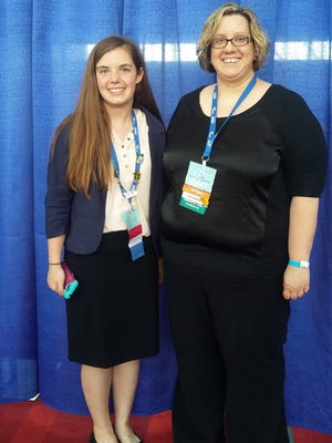 Megan Roehl, left, and her co-adviser Ms. Katie Peterson from Campbellsport High School attended the Future Business Leaders of America National Competition and Leadership Conference in Atlanta, Georgia.