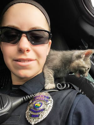 Lafayette patrol officer Cassie Leuck snaps a selfie with a stray kitten she rescued Tuesday.