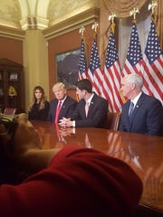 House Speaker Paul Ryan, R-Wis., meets with President-elect Donald Trump and Vice President-elect Mike Pence at the U.S. Capitol.