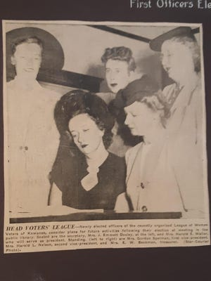 In this photo from a Sept. 27, 1946, edition of the Star Courier, newly elected officers of the recently organized League of Women Voters of Kewanee considered plans for future activities following their election at meeting in the public library.  Seated are the secretary, Mrs. J. Emmett Dooley, at the left, and Mrs. Harold E. Waller, who will serve as president.  Standing (left to right) are Mrs. Gordon Spelman, first vice president, Mrs. Harold L. Nelson, second vice president, and Mrs. E. W. Beckman, treasurer.""