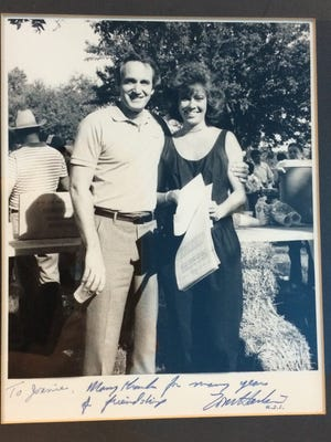Tom Harkin and Joan Kiernan are shown in this undated photo. When the steak fry started, the Kiernan family provided the food. Now, Hy-Vee caters it.