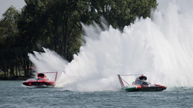 J. Michael Kelly, left, driver of the U-5 Unlimited boat races against Jimmy Shane in the U-1 Unlimited boat, right, during the final H-1 Heat at the 2015 UAW-GM Spirit of Detroit HydroFest on Sunday, Aug. 23, 2015 along the Detroit River in Detroit. Shane took first place and Kelly took second. Tim Galloway/Special for DFP
